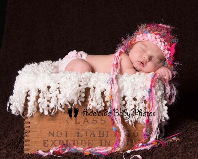 Photo of sleeping baby in box by Adelaide Baby Photos
